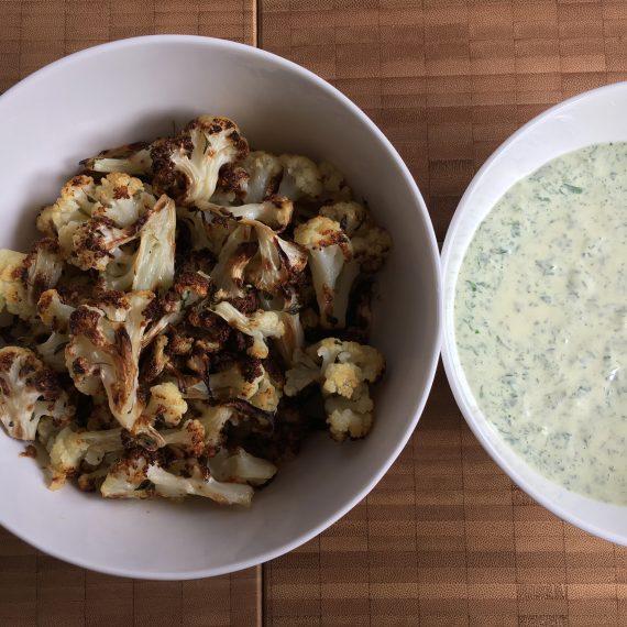 cauliflower transformation w/ green sauce