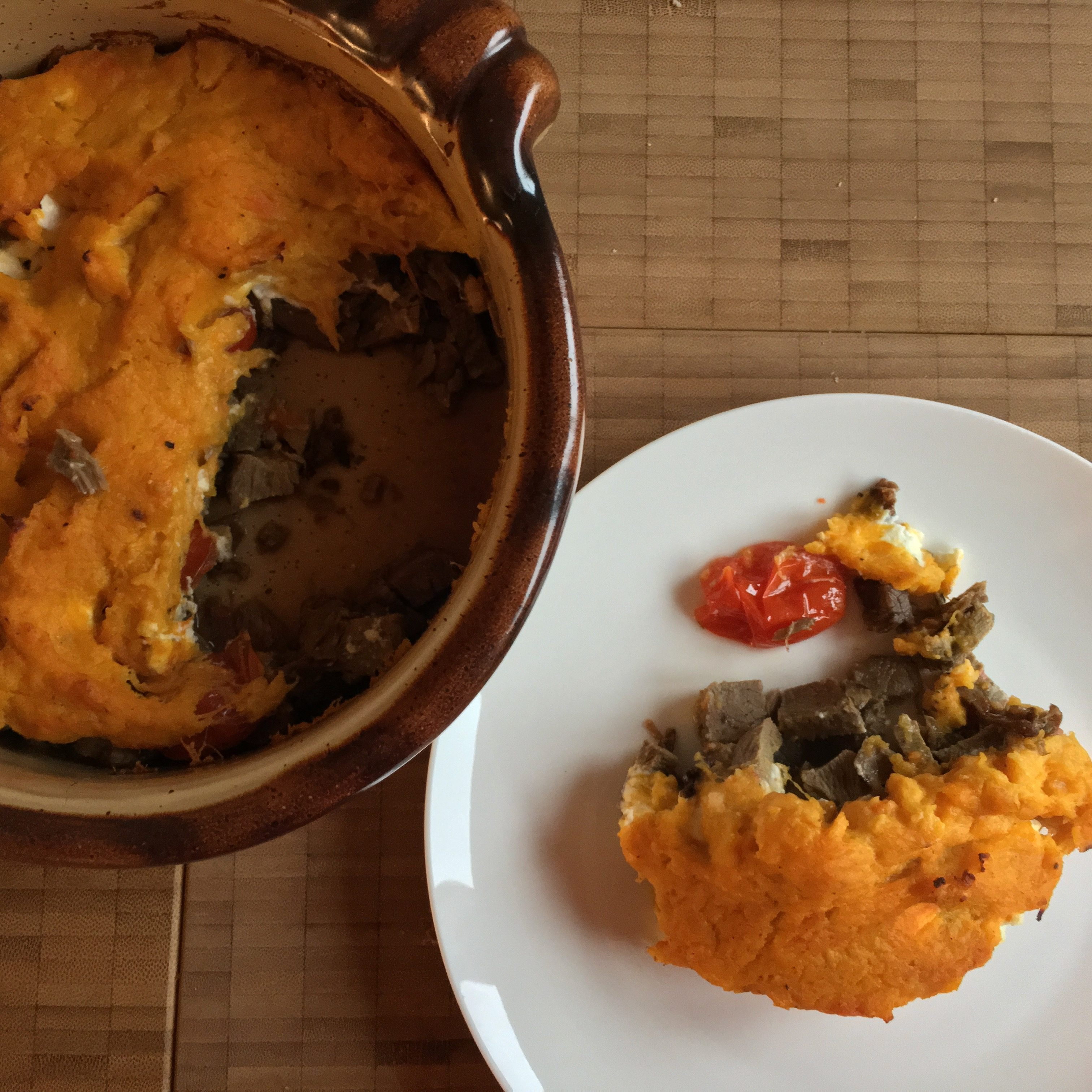 butternut - püriert & gebacken mit lammfleischresten & feta