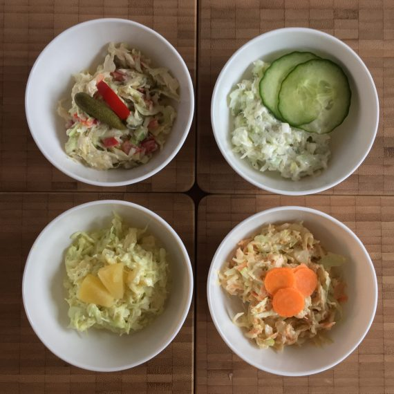 an array of coleslaw